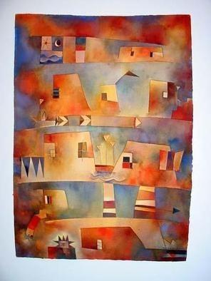 """Antonia Guzmán<br>""""Esperando la Creciente""""<br>Watercolour on hand-made paper"""