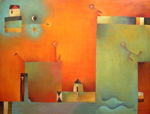 """Antonia Guzmán<br>""""Any news?"""" Acrylic on canvas (2003)"""