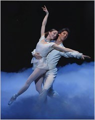"""[Paul Kolnik/New York City Ballet]Ashley Bouder and Damian Woetzel in the New York City Ballet production of Susan Stroman's """"Double Feature."""