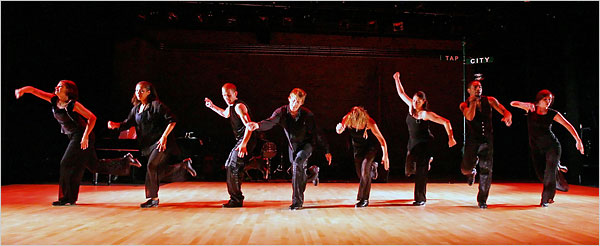 "Members of the Tapestry Dance Company performing ""Anacruses Revisited"" in ""Tap Forward"" at Symphony Space on Tuesday"
