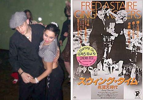 """Tatiana Schiel y acompañante haciendo el pasito del Swing El mismo pasito por Fred Astaire y Ginger Rogers en """"Swing Time""""."""