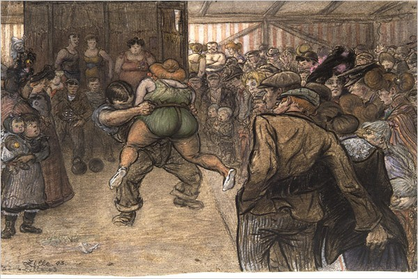 "[Photo: Images provided by Academy of Arts Berlin] ""Ring Fight (at the Fair),"" a 1903 drawing by Heinrich Zille ""Were he a Berliner, he might have been thinking of Zille, who was born near Dresden on Jan. 10 in 1858, but came to Berlin as a child and bound himself inextricably to the city."" Related Article: Lively Eye on Old Berlin: Wonderful Life, Ja?"